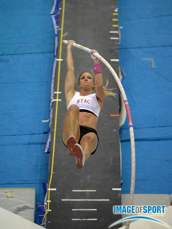 Jan 18, 2013; Reno, NV, USA; Mary Saxer (USA) clears 14-5 1/4 (4.40m) in the womens competition in the 2013 UCS Spirit national pole vault summit at the Reno Livestock Events Center.