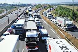 &copy; Licensed to London News Pictures. 17/08/2016<br /> SEVERE TRAFFIC DELAYS IN KENT.<br /> Traffic on the M25 Dartford anti-clockwise towards Dartford Bridge into Essex.<br /> QE2 Bridge is closed in Dartford,Kent in both directions after an accident at 2am this morning (17.08.2016).    The closure is causing severe traffic on the M25 AND A2 both of which are at a standstill.<br /> <br /> (Byline:Grant Falvey/LNP)