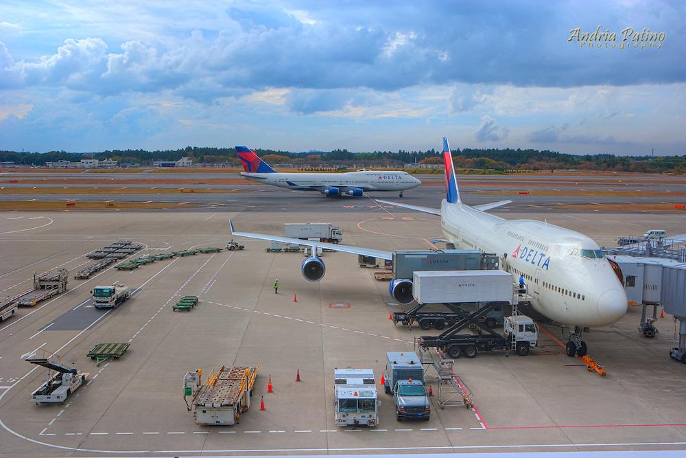 Preparing airplane for flight, Narita Airport, Tokyo