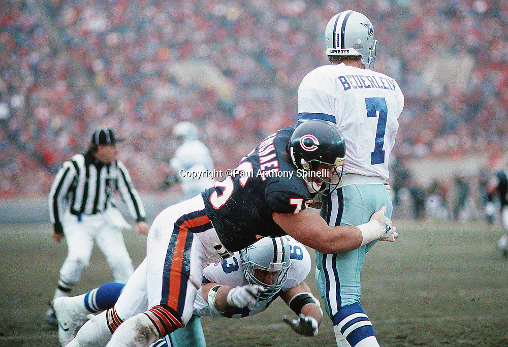 Dallas Cowboys quarterback Steve Beuerlein (7) gets hit by Chicago Bears defensive tackle Steve McMichael (76) during the NFL NFC Wild Card playoff football game against the Chicago Bears on Dec. 29, 1991 in Chicago. The Cowboys won the game 17-13. (©Paul Anthony Spinelli)