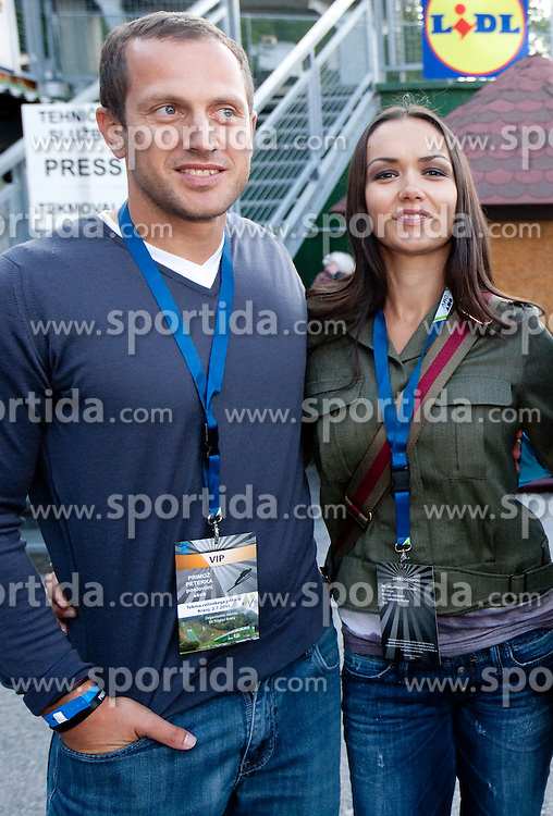 Jure Kosir with his wife Alenka Kosir during Ski Jumping Summer Continental Cup in Kranj and last jump of Primoz Peterka's career, one of the best ski jumpers in history, on July 2, 2011, in Kranj, Slovenia. (Photo by Vid Ponikvar / Sportida)