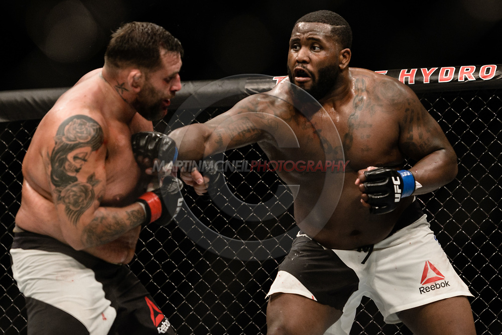 "GLASGOW, UNITED KINGDOM, JULY 16, 2017: Justin Willis (white shorts) versus James Mulheron (black shorts) during ""UFC Fight Night Glasgow: Nelson vs. Ponzinibbio"" inside the SSE Hydro Arena in Glasgow, Scotland on Sunday, July 16, 2017."