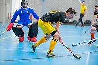 ROTTERDAM - Gijs Campbell (Den Bosch)  heren Den Bosch-HIC,   ,hoofdklasse competitie  zaalhockey.   COPYRIGHT  KOEN SUYK