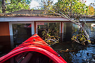Trump/Pence bumper sticked on the window of a home flooded by the Waccamaw River which crested at a record breaking high following Hurricane Matthew.