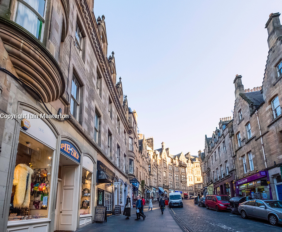 Shops on historic Cockburn Street in Edinburgh Old Town, Scotland, United Kingdom