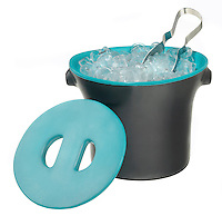 blue and gray ice bucket with lid and silver tongs