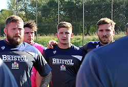 Auguy Slowik of Bristol United in team huddle ahead of A League fixture against Gloucester United - Mandatory by-line: Paul Knight/JMP - 02/10/2016 - RUGBY - Hyde Park - Taunton, England - Bristol United v Gloucester United - Aviva A League