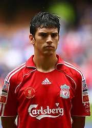 CARDIFF, WALES - SUNDAY, AUGUST 13th, 2006: Liverpool's Mark Gonzalez lines-up to face Chelsea before the Community Shield match at the Millennium Stadium. (Pic by David Rawcliffe/Propaganda)