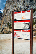 Warning sign on top of Nevada Fall, Yosemite National Park, California USA