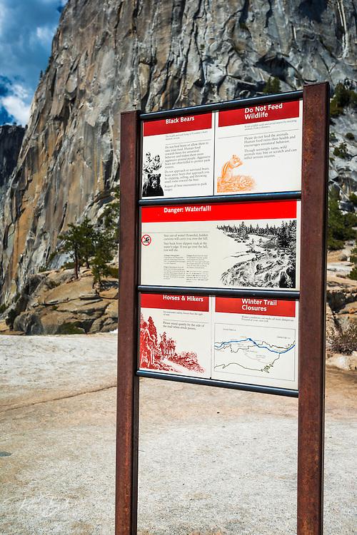 Warning sign on top of Nevada Fall, Yosemite National Park, California USA