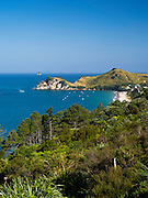 High-angle view looking eastward from Hahei; the Coromandel Peninsula, New Zealand