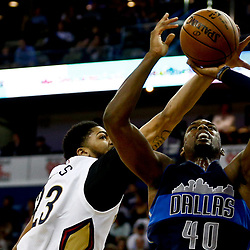 Dec 26, 2016; New Orleans, LA, USA;  Dallas Mavericks forward Harrison Barnes (40) shoots as New Orleans Pelicans forward Anthony Davis (23) defends during the second quarter of a game at the Smoothie King Center. Mandatory Credit: Derick E. Hingle-USA TODAY Sports