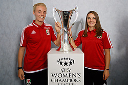 CARDIFF, WALES - Saturday, August 20, 2016: Wales captain Sophie Ingle and Loren Dykes with the UEFA Women's Champions League trophy at the Vale Resort. The UEFA Champions League finals take place in Cardiff in May 2017. (Pic by David Rawcliffe/Propaganda)