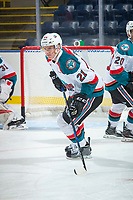 KELOWNA, CANADA - SEPTEMBER 2: Defenseman Kyle Pow #21 of the Kelowna Rockets skates against the Victoria Royals on September 2, 2017 at Prospera Place in Kelowna, British Columbia, Canada.  (Photo by Marissa Baecker/Shoot the Breeze)  *** Local Caption ***