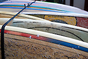 stack of Surfboards on the beach. Photographed in El tunco, El Salvador