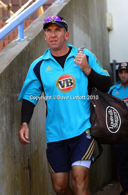 Australian coach Tim Nielsen.<br /> Australian cricket training at Allied Prime Basin Reserve, Wellington. Tuesday, 16 March 2010. Photo: Dave Lintott/PHOTOSPORT