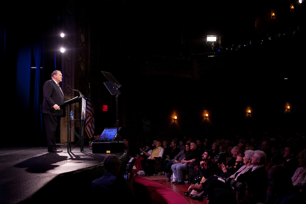Former Governor of Arkansas Mike Huckabee speaks to a conservative crowd at the Iowa Freedom Summit at Hoyt Sherman Place in Des Moines, Iowa on Saturday, January 24, 2015.