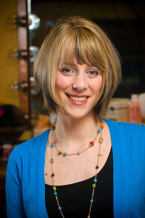 Erin Hanna-Baum, 27, from Rocky River at the Charles Scott salon on Tuesday, Feb. 17, 2009 for Cleveland Magazine project Mom Makeovers.