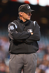 September 14, 2010; San Francisco, CA, USA;  Major League umpire Ed Hickox (15) during the first inning of the game between the San Francisco Giants and the Los Angeles Dodgers at AT&T Park. Los Angeles defeated San Francisco 1-0.