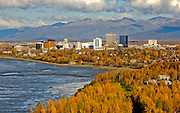 Fall aerial of Anchorage and Cook Inlet.