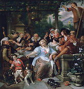 Merry Company on  a Terrace': Group eating and drinking in the open air under a pergola from which hangs a bird in a cage. Pet dog harnessed to child's wheeled toy.  Young men play flute and mandolin. Jan Steen (1626-1679) Dutch painter.