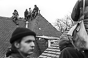 Wanstonia Eviction, an anti-road protest, apposing the construction of the East cross traffic link to the M11, Leytonstone, London, 16th February 1994. Wanstonia Eviction, an anti-road protest, apposing the construction of the East cross traffic link to the M11, Leytonstone, London, 16th February 1994.