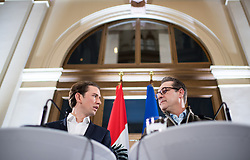 23.11.2017, Palais Epstein, Wien, AUT, Koalitionsverhandlungen von ÖVP und FPÖ anlässlich der Nationalratswahl 2017, im Bild ÖVP-Chef Sebastian Kurz und FPÖ-Chef Heinz-Christian Strache // Head of the Austrian Peoples Party (OeVP) Sebastian Kurz and Head of the Austrian Freedom Party (FPOe) Heinz-Christian Strache during coalition negotiations between the Austrian Peoples Party and Austrian Freedom Party due to general elections 2017 in Vienna, Austria on 2017/11/23, EXPA Pictures © 2017, PhotoCredit: EXPA/ Michael Gruber