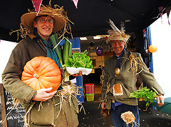 Westport Country Markets held a Halloween Theme at their market on Thursday morning Vegetable farmers Chris Smith and Ed Domican were suitably dressed as scarecrows...Pic Conor McKeown