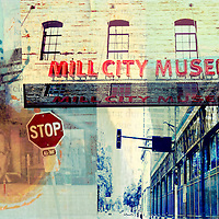 Mill City Museum collage with street light, stop sign and painting textures.