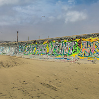 Ocean Beach Graffiti in San Francisco, California, For several arts their is an open art gallery of Graffiti  along Ocean Beach Seawall.