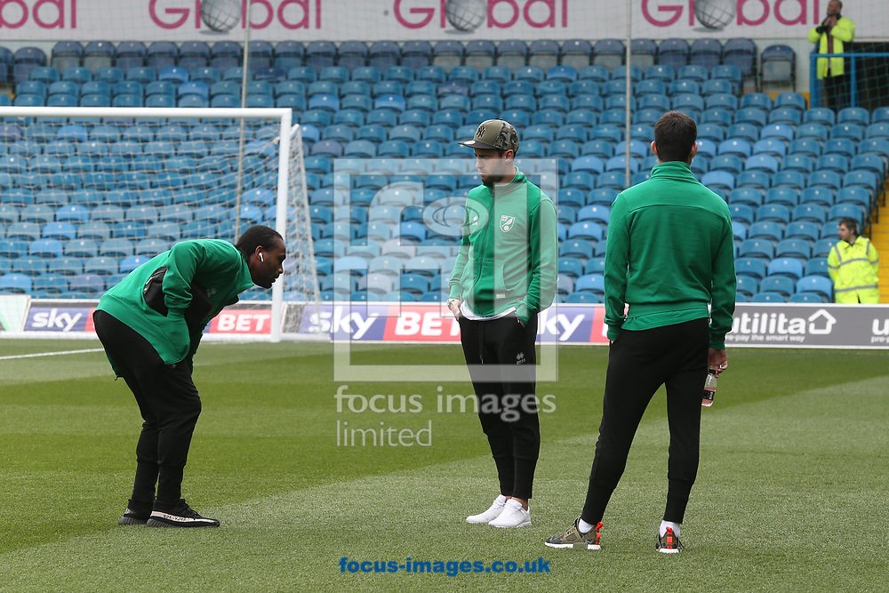 Cameron Jerome of Norwich, Ivo Pinto of Norwich and Nelson Oliveira of Norwich before the Sky Bet Championship match at Elland Road, Leeds<br /> Picture by Paul Chesterton/Focus Images Ltd +44 7904 640267<br /> 29/04/2017