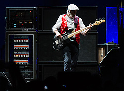 © Licensed to London News Pictures. 27/05/2015. London, UK.   Fleetwood Mac performing live at The O2 Arena, together with Christine Mc Vie who has rejoined the band.   In this picture - John McVie .  The band are due to headline the Isle of Wight Festival next month. Fleetwood Mac are a British-American rock band consisting of members Mick Fleetwood (drums), John McVie (bass guitar), Christine McVie (keyboards/vocals), Lindsey Buckingham (guitars, vocals), Stevie Nicks (vocals, tambourine).  Photo credit : Richard Isaac/LNP