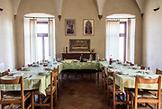 ITALY, Franciacorta area, Roveto, Monte Orfano, Convento dell'Annunciata. the refettorino, lunch and dinner room