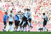 Omar Bugiel of Bromley FC (25) celebrates scoring (1-0) during the FA Trophy match between Brackley Town and Bromley at Wembley Stadium, London, England on 20 May 2018. Picture by Stephen Wright.