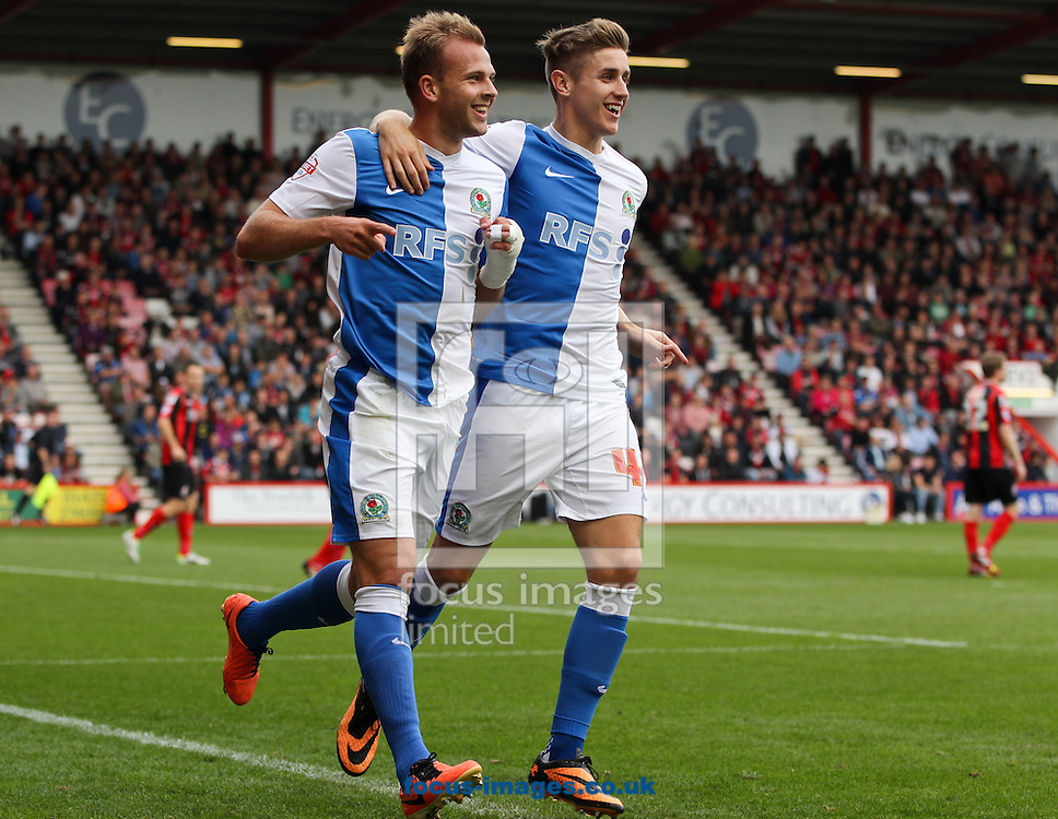 Picture by Tom Smith/Focus Images Ltd 07545141164<br /> 28/09/2013<br /> Jordan Rhodes (left) of Blackburn Rovers celebrates opening the scoring during the Sky Bet Championship match at the Seward Stadium, Bournemouth.