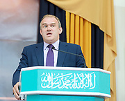 Sir Ed Davey former Energy Secretary &amp; Liberal Democrats candidate for Kingston &amp; Surbiton speaking at the Baitul Futuh Mosque, at an event to commemorate the establishment of The Ahmadiyya Caliphate, a non-political caliphate established on May 27, 1908. &nbsp;<br /> <br /> Following on from the tragic events in Manchester, Ed discussed the events in Manchester and reasserted the importance of traditional liberal values in defeating extremism.&nbsp;<br /> <br /> 27th May 2017 <br /> at the Baitul Futuh Mosque, Morden, Surrey <br /> <br /> <br /> Photograph by Elliott Franks <br /> Image licensed to Elliott Franks Photography Services