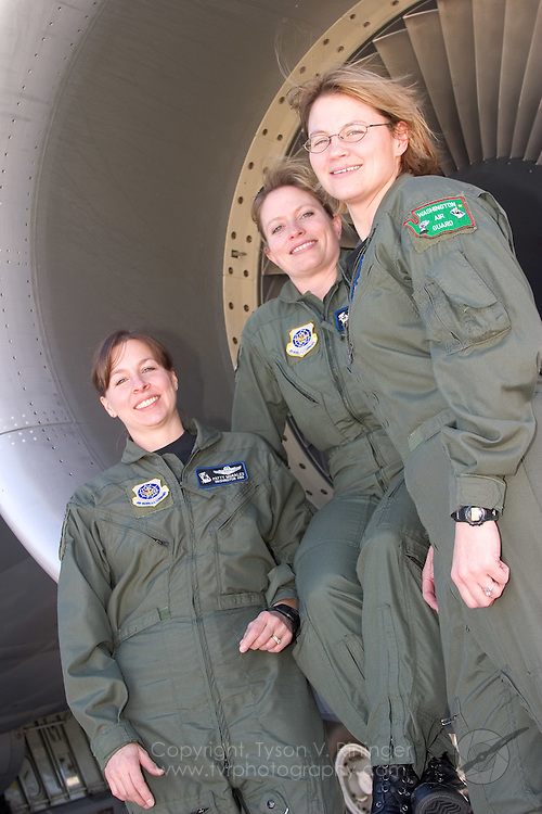 LtCol Patty Morales, Capt Molly Marshall and MSgt Sheri Shaw made up the first all-female KC-135 flight crew for the Washington ANG 141ARW on 01/30/06. Jokingly called the squadron's first 'Unmanned' refueling mission, the crew made up Anchor Two-Five tending to F-16's from the 388th Wing's 427th Squadron from Hill Air Force Base.