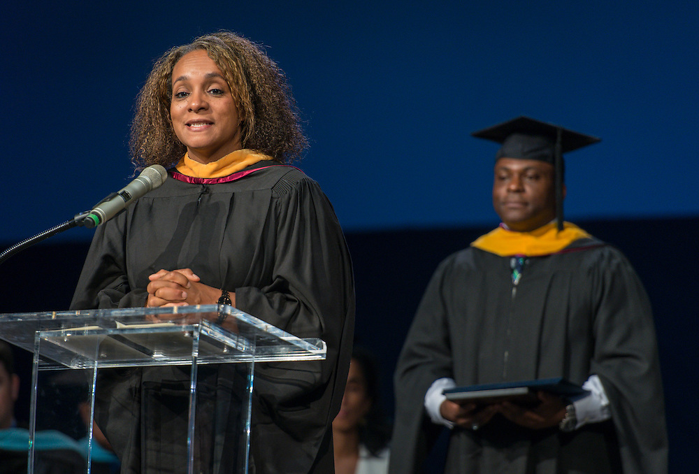 Houston ISD board president Rhonda Skillern-Jones comments during the first ever graduation for Mickey Leland College Preparatory Academy, May 27, 2015.