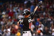 PHOENIX, AZ - JUNE 12:  Ichiro Suzuki #51 of the Miami Marlins takes warm up swing prior to his at bat against the Arizona Diamondbacks in the ninth inning at Chase Field on June 12, 2016 in Phoenix, Arizona.  (Photo by Jennifer Stewart/Getty Images)