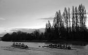 Putney, London.  Pre Varsity Boat race fixture. Cambridge move away from the GBR U23 crew, Cambridge UBC. [Blue Boat] vs GBR U23 crew raced over parts of the Championship Course, [Putney to Mortlake].  Race divided into two trials. 1. Start to Hammersmith Pier. 2. Chiswick Eyot to Finish. River Thames. Saturday   26/02/2011 [Mandatory Credit -Karon Phillips/Intersport Images]..Crews:.CAMBRIDGE [Blue Boat] Bow,  Mike THORP, Joel JENNINGS,  Dan RIX-STANDING,  Hardy CUBASCH,  George NASH,  Geoff ROTH , Derek RASMUSSEN, Stroke David NELSON and Cox Tom FIELDMAN..GB Under-23s Bow, Oliver STAITE, Jack CADMAN,  Alex TORBICA, Alex DAVIDSON, Matt TARRANT, Ertan HAZINE,  Mason DURANT,  Stroke Scott DURANT and Cox Max GANDER ..
