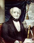 Martin Van Buren (1782-1862) Eighth President of the United States of America (1837-1841), the first President to be born an American citizen.  Currier & Ives lithograph portrait of Van Buren seated at desk holding a leather-bound book.