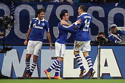 13.12.2011, Arena auf Schalke, Gelsenkirchen, GER, 1.FBL, Schalke 04 vs Werder Bremen, im BildTorjubel/ Jubel nach dem 1:0 durch Raul (Schalke #7) (L) mit Jurado (Schalke #18), Kyriakos Papadopoulos (Schalke #14) // during the 1.FBL, Schalke 04 vs Werder Bremen on 2011/12/17, Arena auf Schalke, Gelsenkirchen, Germany. EXPA Pictures © 2011, PhotoCredit: EXPA/ nph/ Mueller..***** ATTENTION - OUT OF GER, CRO *****