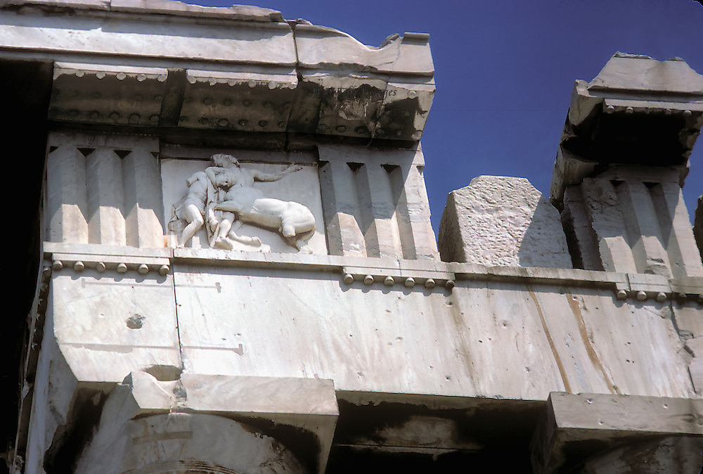 Acropolis: Parthenon, details of entablature showing broken cornice and one metope still in situ.