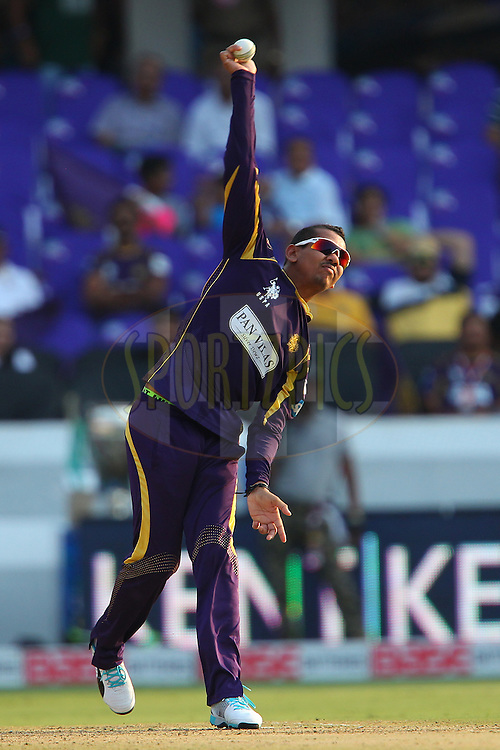 Sunil NARINE of the Kolkata Knight Riders  during the first semi final match of the Oppo Champions League Twenty20 between the Kolkata Knight Riders and the Hobart Hurricanes held at the Rajiv Gandhi Cricket Stadium, Hyderabad, India on the 2nd October 2014<br /> <br /> Photo by:  Ron Gaunt / Sportzpics/ CLT20<br /> <br /> <br /> Image use is subject to the terms and conditions as laid out by the BCCI/ CLT20.  The terms and conditions can be downloaded here:<br /> <br /> http://sportzpics.photoshelter.com/gallery/CLT20-Image-Terms-and-Conditions-2014/G0000IfNJn535VPU/C0000QhhKadWcjYs
