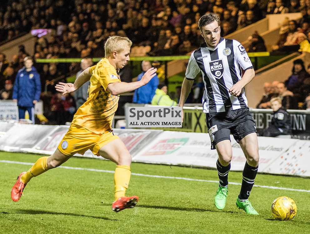 Morton's Conor Pepper goes after St. Mirren's Sean Kelly during the St. Mirren FC V Greenock Morton FC Ladbrokes Scottish Championship game played at the Paisley 2021 Stadium, Paisley on 20th November 2015; (c) BERNIE CLARK | SportPix.org.uk