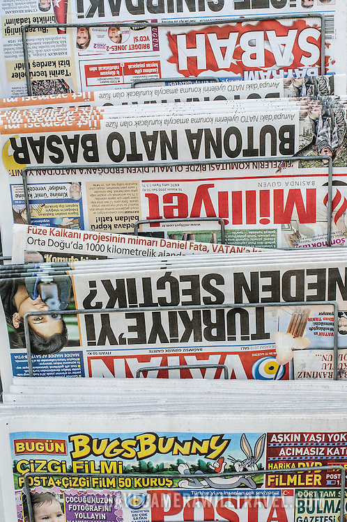 Newspapers for sale on a stand in Istanbul, Turkey