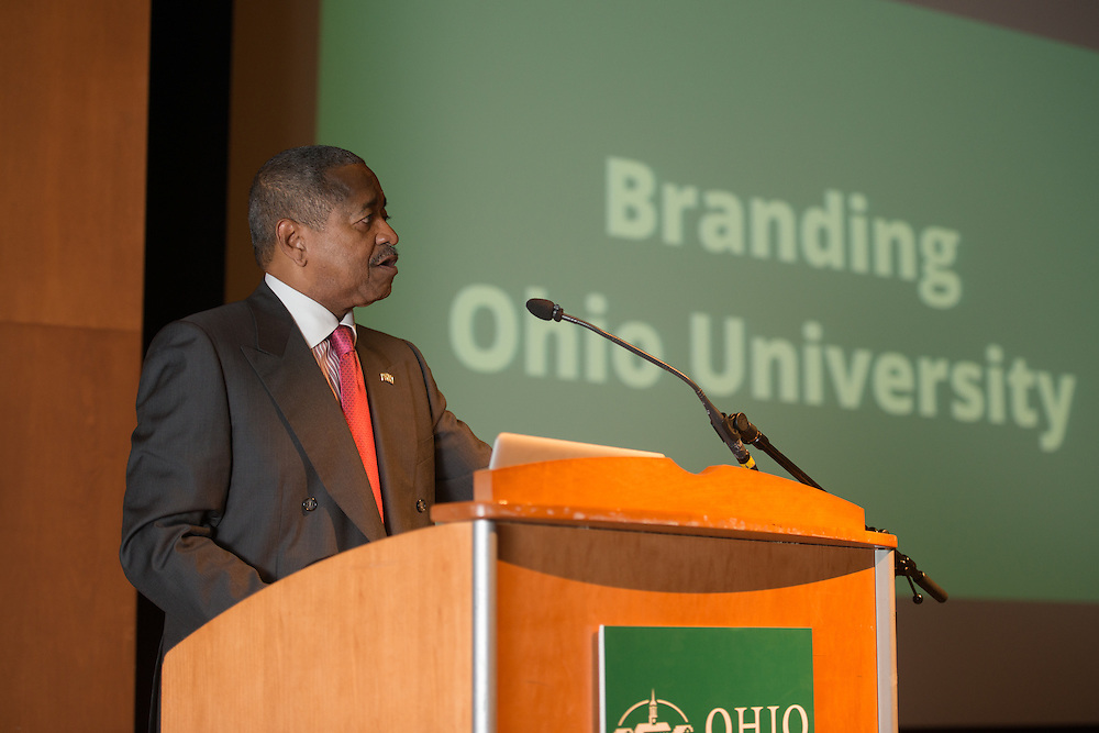 Ohio University President Roderick McDavis speaks about Ohio University's new branding campaign. Photo by Ben Siegel