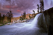 A waterfall during sunset below Fontanillis Lake in Desolation WIlderness along the Tahoe Rim Trail.