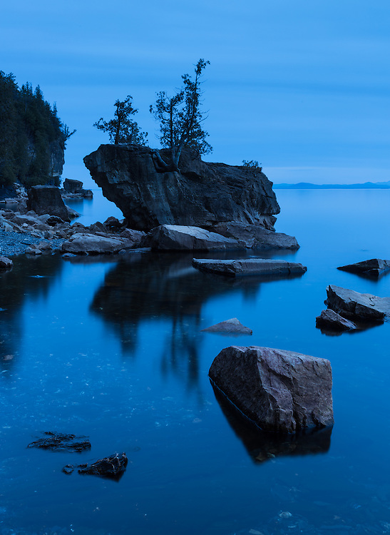 Twilight blue on a calm Lake Champlain evening, Rock Point, Vermont