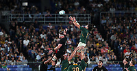 Rugby Union - 2019 Rugby World Cup - Pool B: New Zealand vs. South Africa<br /> <br /> Franco Mostert of South Africa and Kieran Read of New Zealand at the International Stadium Yokohama, Yokohama City.<br /> <br /> COLORSPORT/LYNNE CAMERON